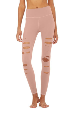 SEA YOGI // Alo High ripped warrior legging in rose quartz, front