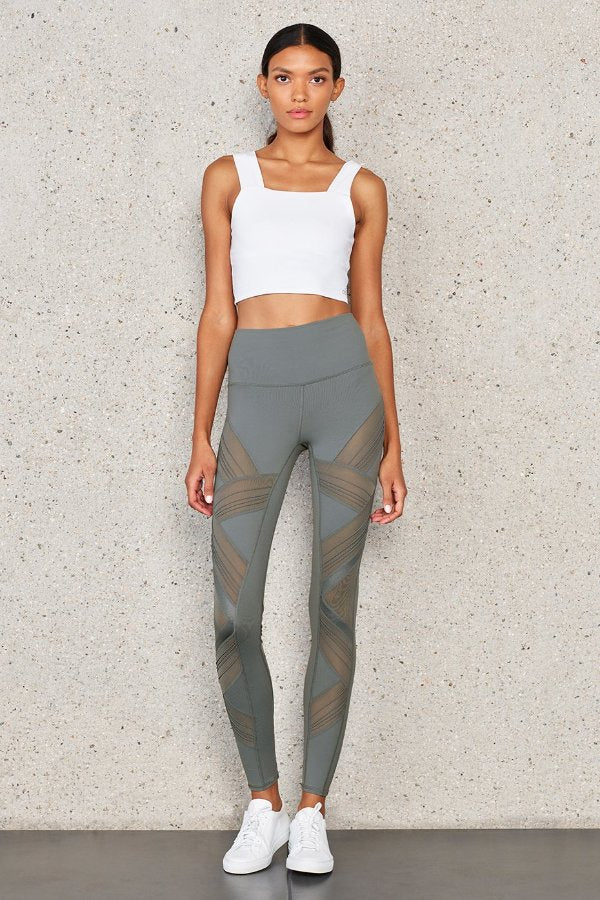 SEA YOGI // Alo High Waist ultimate leggings in concrete gray, front wall
