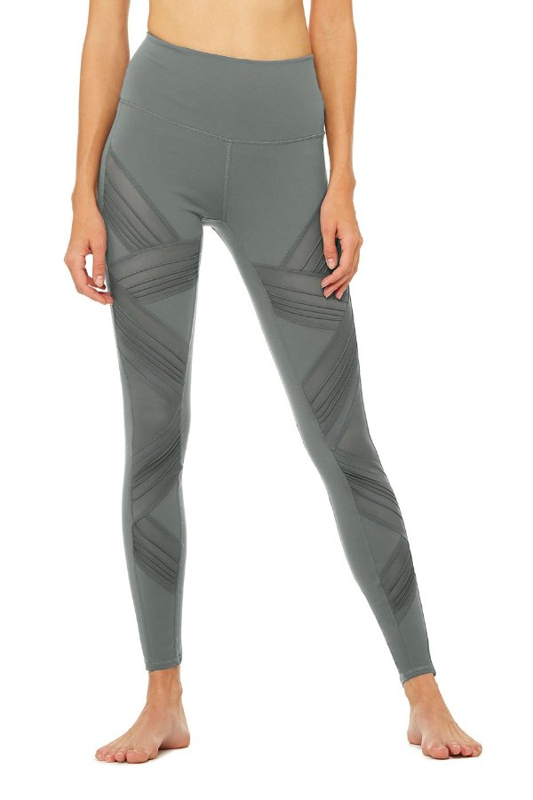 SEA YOGI // Alo High Waist ultimate leggings in concrete gray, front
