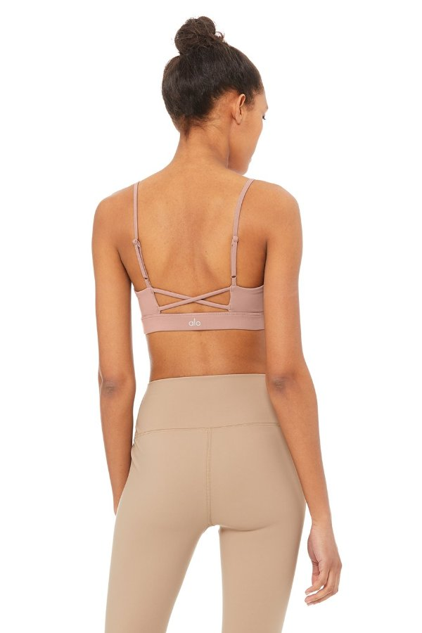 SEA YOGI // Alo Interlace Bra in smokey pink, back