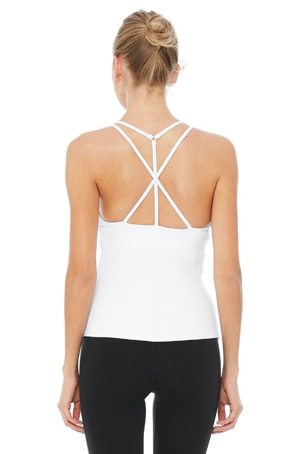 SEA YOGI // Alo Yoga Motivate Bra Tank in white, back