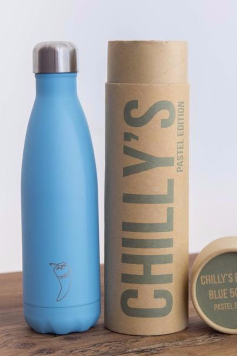 Chilly water bottle in paste blue colour and 500ml size, front second image- SEA YOGI