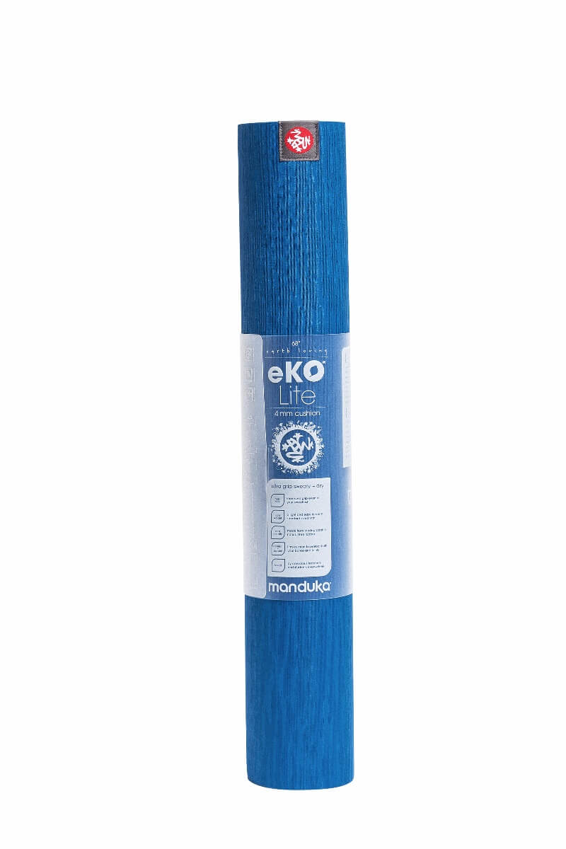 Manduka-eko-Lite-yoga-mat-4mm-Truth-Blue-rolled-up-package