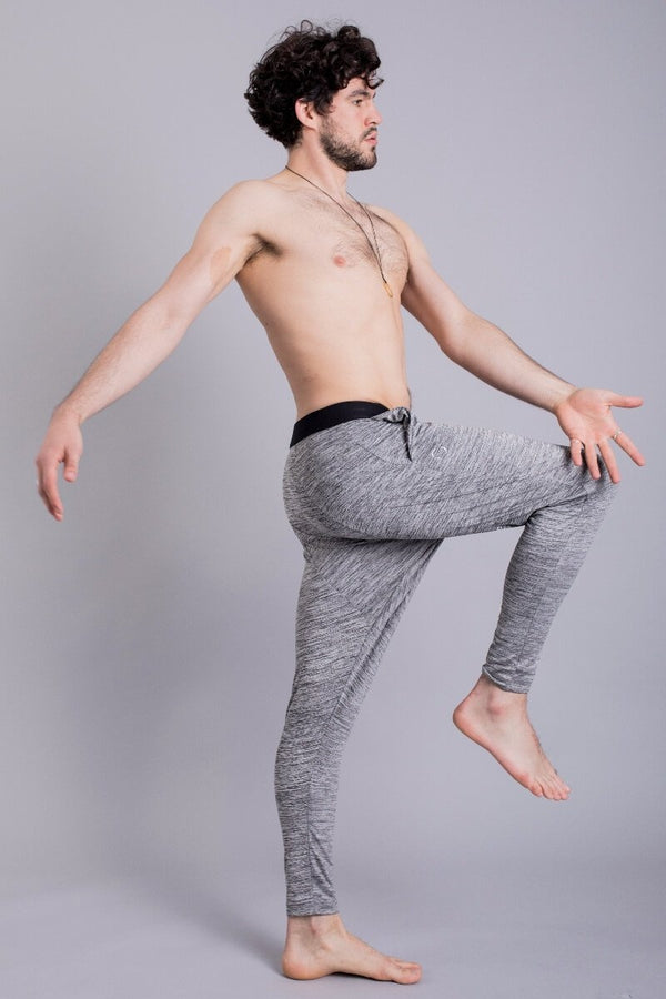 SEA YOGI // Matsyendra Fisherman Yoga Pants for men in Grey by OHMME, Online Yoga Shop, right side