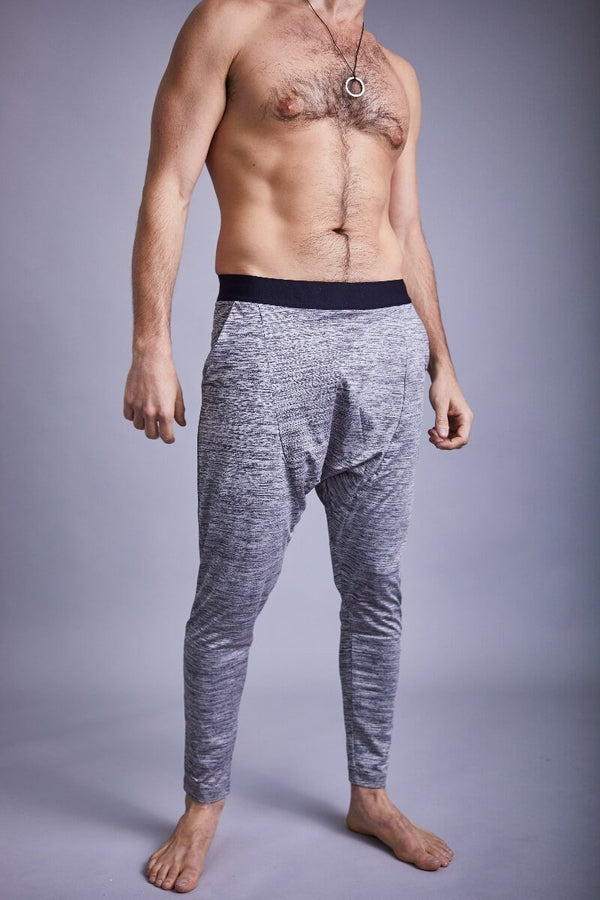 SEA YOGI // Matsyendra Fisherman Yoga Pants for men in Grey by OHMME, Online Yoga Shop, front