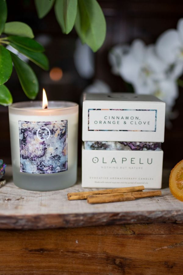 OLA PELU // Cinammon, Orange and Clove natural candle box and candle shot two, yoga shop