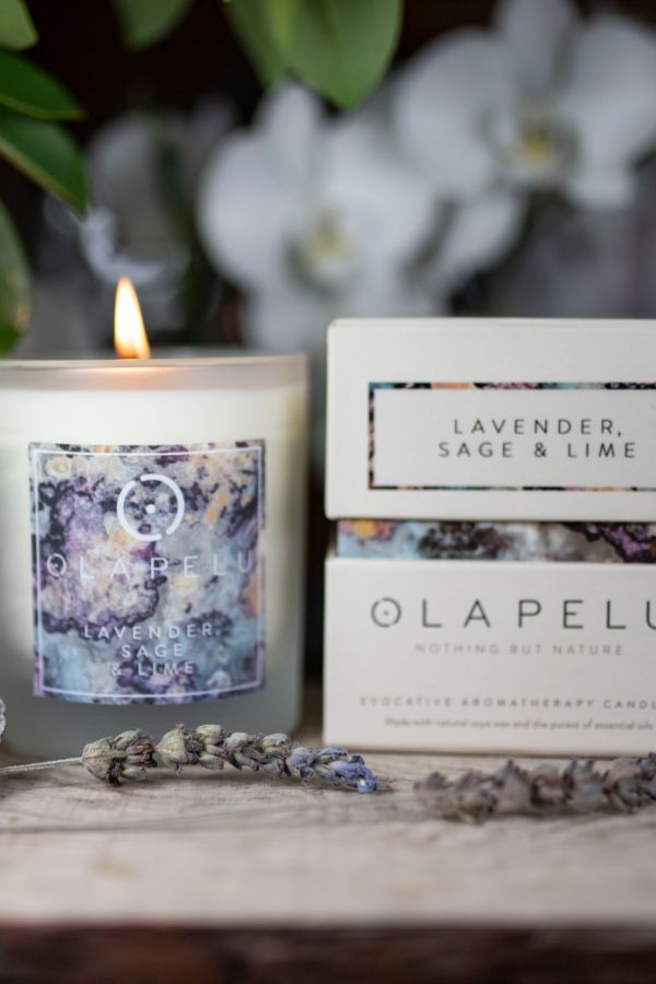 OLA PELU // Lavender, sage and Lime natural candle box and candle shot two, yoga shop