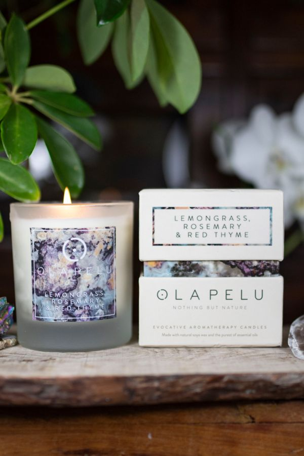 OLA PELU // Lemongrass, Rosemary and Red Thyme natural candle box and candle shot two, yoga shop