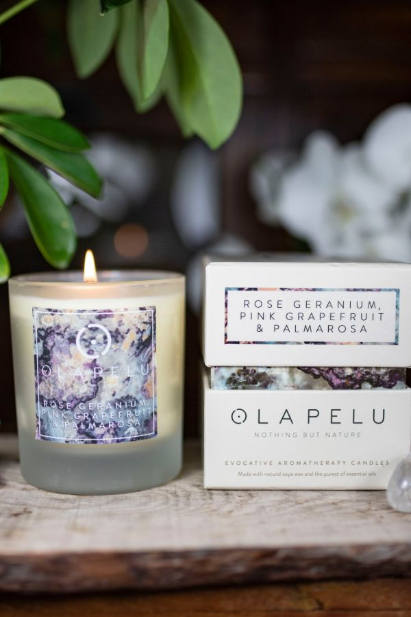 OLA PELU // Rose geranium, pink grapefruit and palmarosa natural candle box and candle shot two, yoga shop