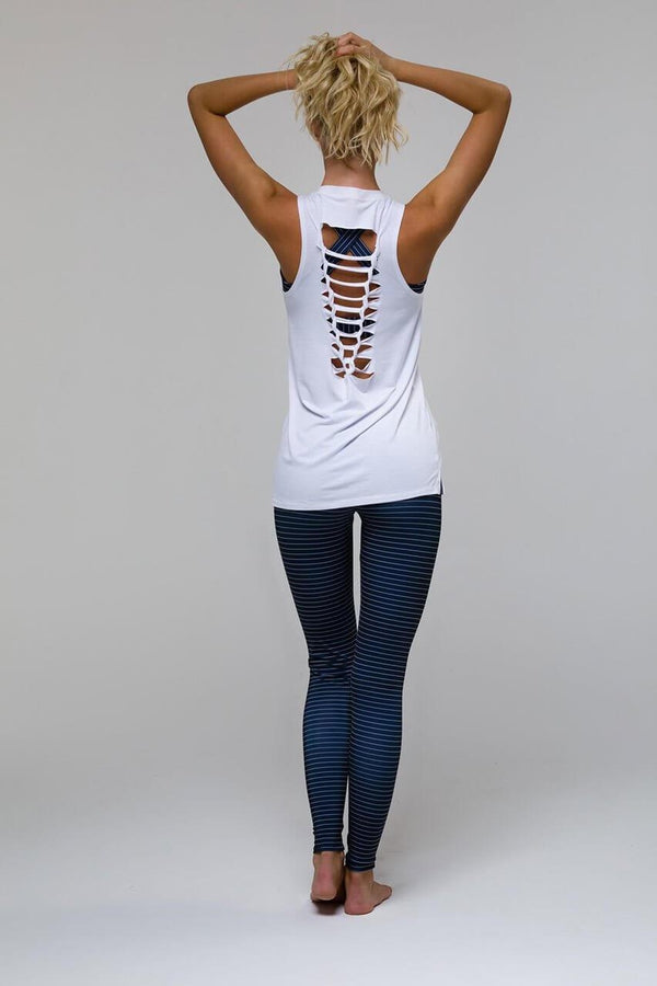 ONZIE Braid Tank Yoga Top in White - Sea Yogi - Back full figure