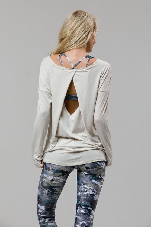 SEA YOGI // Diamond back yoga top in Ivory by Onzie, back