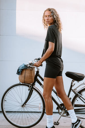 ONZIE // HIGH RISE MINI BIKER SHORT - BLACK
