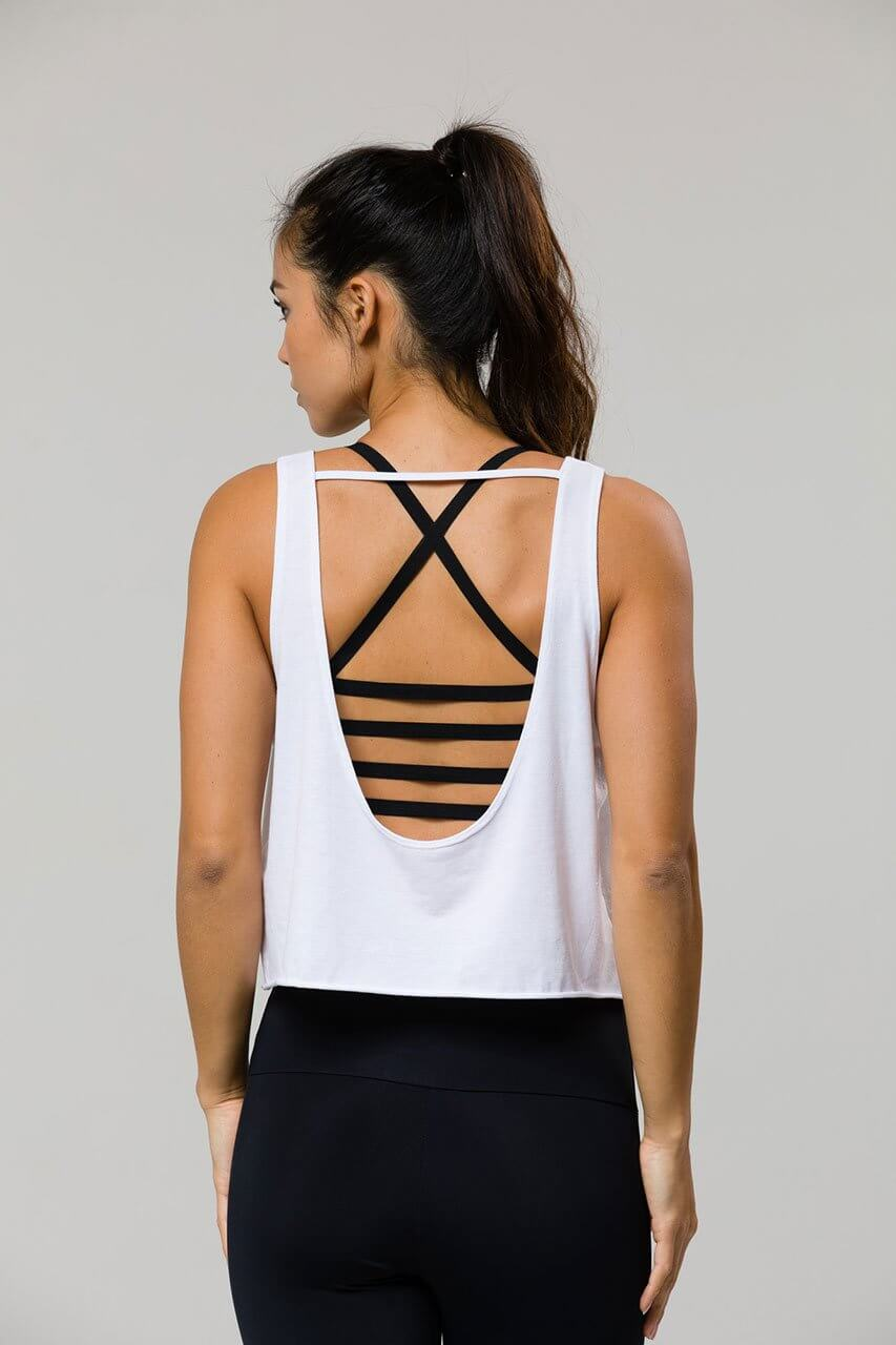 ONZIE Scoop Tank in White - Sea Yogi Online Yoga Shop - back details