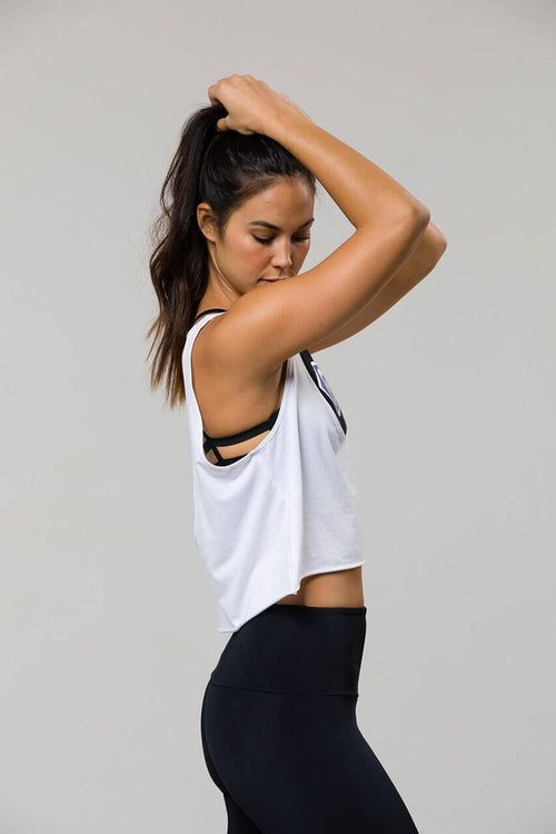 ONZIE Scoop Tank in White - Sea Yogi Online Yoga Shop - side