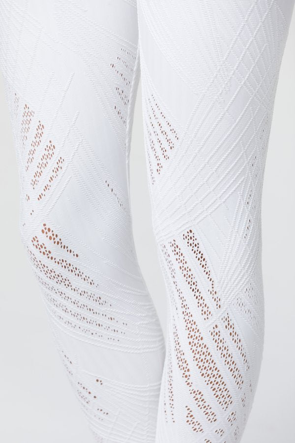 SEA YOGI // Onzie Selenite 7/8 Legging in Pearl, mesh pattern, white