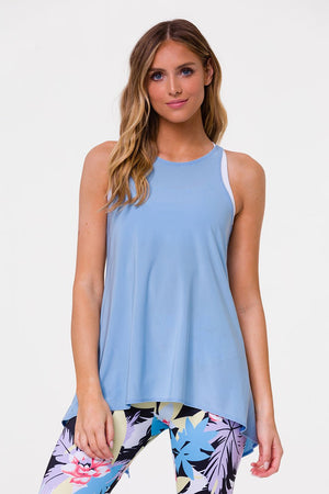 ONZIE // TIE BACK TANK - LIGHT BLUE