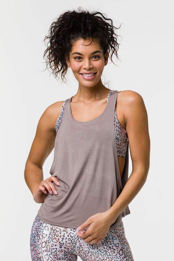 SEA YOGI // Onzie Tone tank in champagne, front
