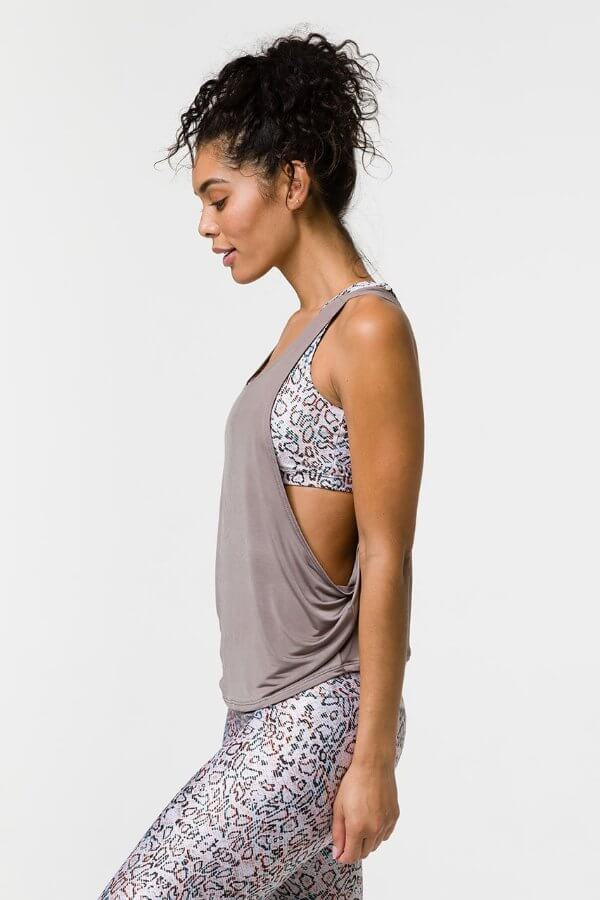 SEA YOGI // Onzie Tone tank in champagne, left side