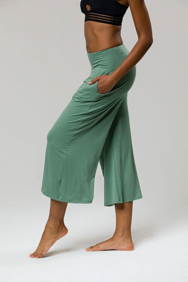 SEA YOGI // Wide leg crop yoga pants in green from Onzie, side