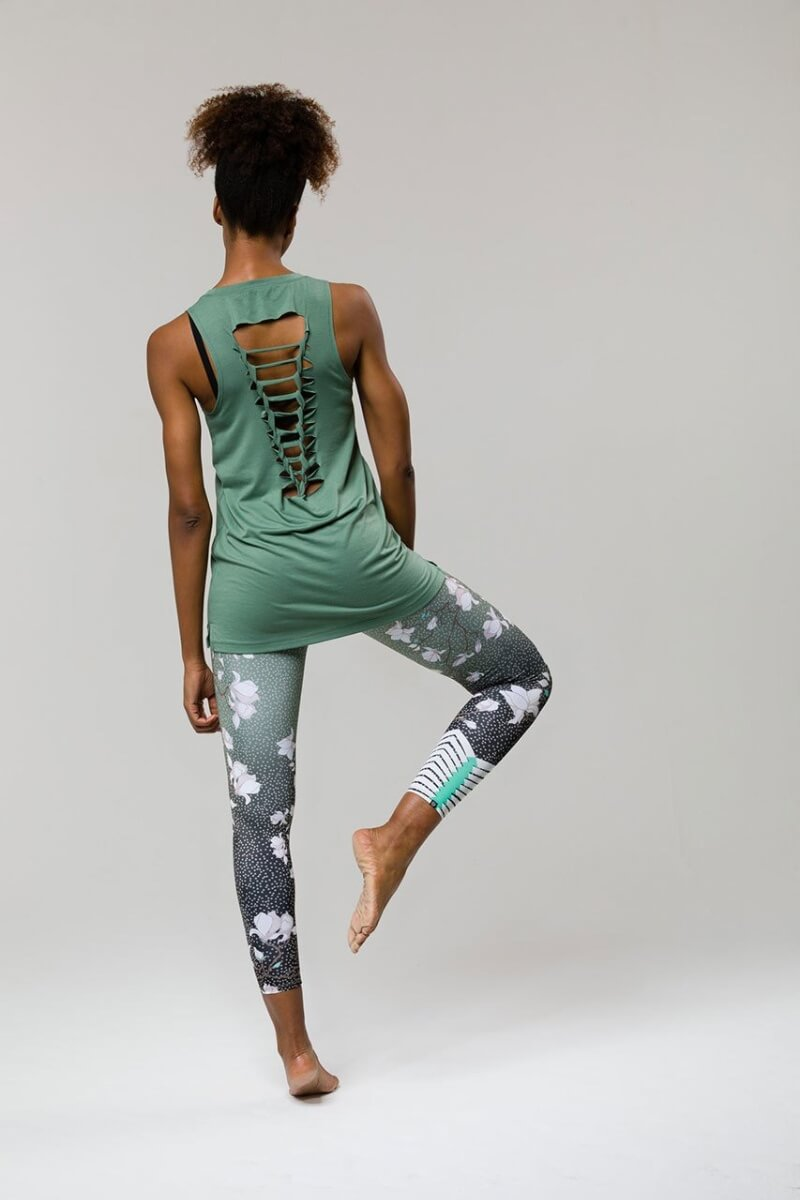 SEA YOGI // Braid tank yoga top from Onzie in Sage, back