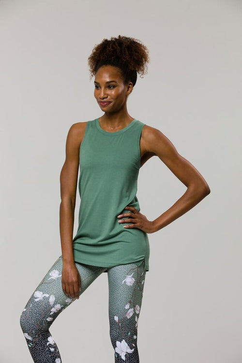SEA YOGI // Braid tank yoga top from Onzie in Sage, front