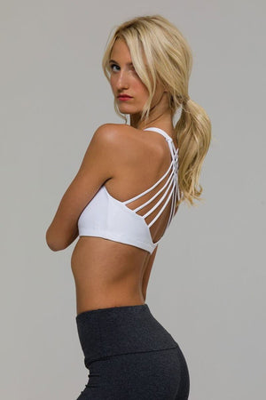 SEA YOGI // Onzie chic Yoga Bra en blanco, left