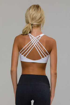 SEA YOGI // Onzie chic Yoga Bra in white, back