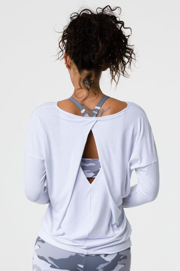 SEA YOGI // Onzie diamond back top in white, back