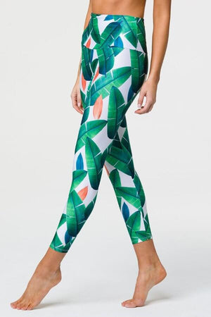 SEA YOGI // Onzie High basic Midi legging cabana, left