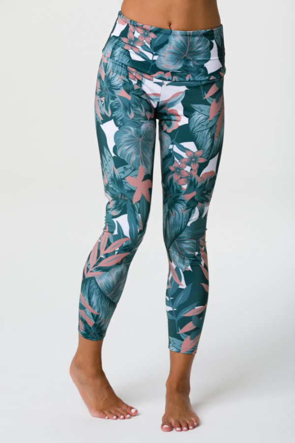 SEA YOGI // Onzie High basic Midi legging with tropical camo print front