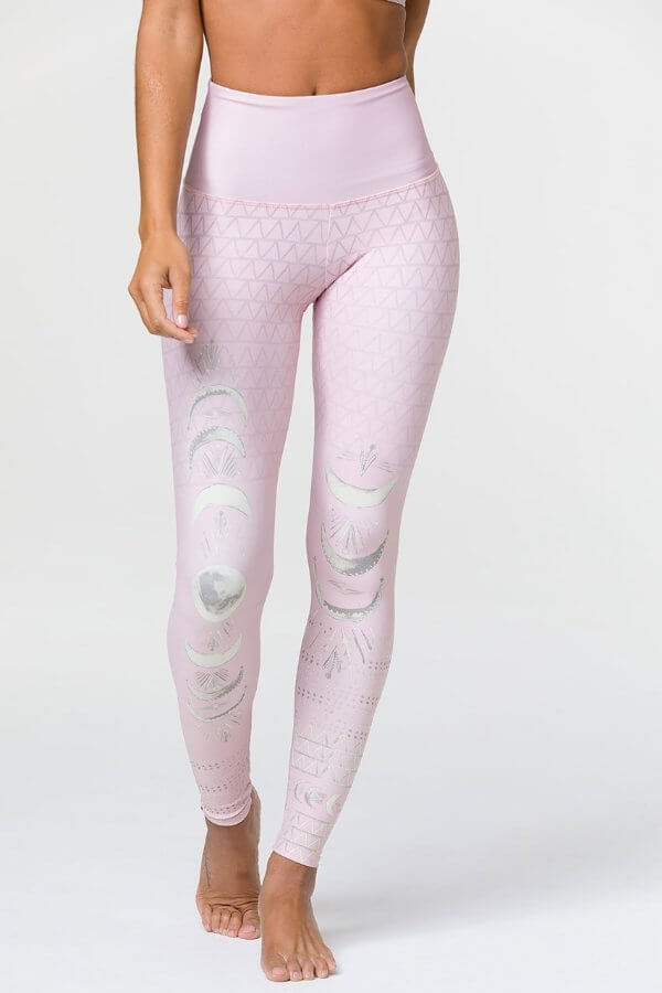 SEA YOGI // Onzie High rise graphic legging Las lunas blush, front