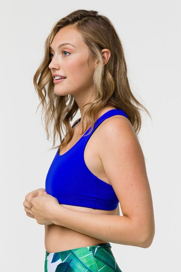 SEA YOGI // Onzie Mudra bra in royal, left