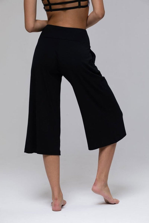 SEA YOGI // Wide Leg Crop Pants in Black from Onzie, back