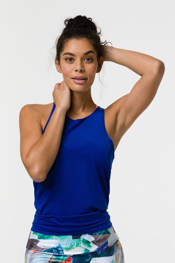 SEA YOGI // Onzie tie back tank royal, front