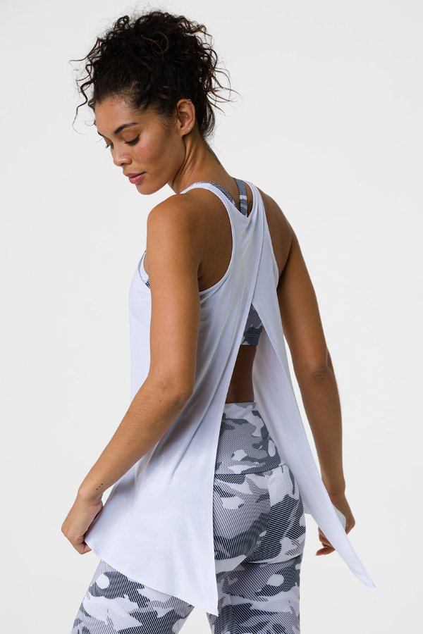 SEA YOGI // Onzie tie back tank in white , Yoga top back