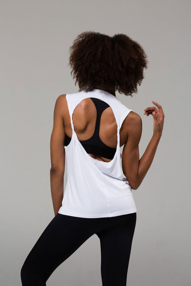 SEA YOGI // Onzie Twist back Top in white, back