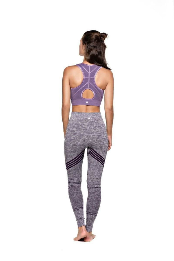 SEA YOGI // Run & Relax Herringbone tape bra in light purple, back