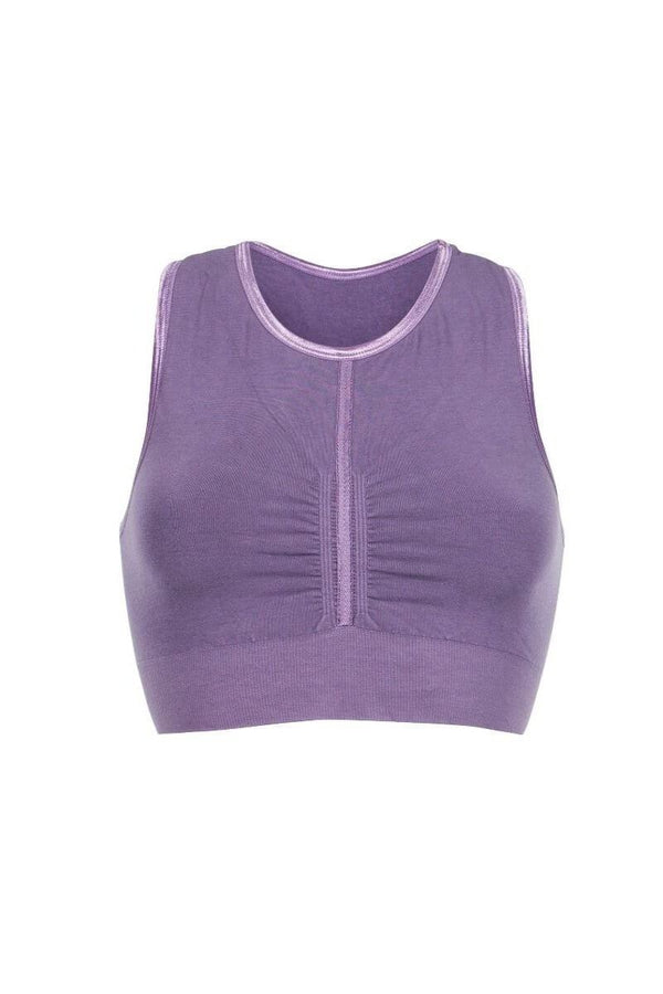 SEA YOGI // Run & Relax Herringbone tape bra en light purple, front