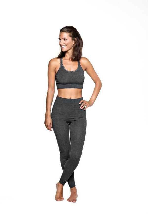 SEA YOGI // Run & Relax Bandha Bamboo Tights en gris, front
