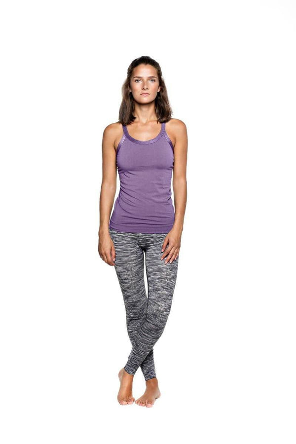 SEA YOGI // Run & Relax Wide Strap Open Back in Light Shadow Purple, frente