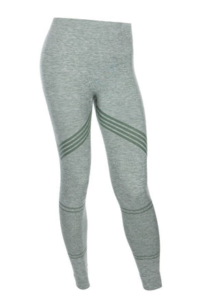 SEA YOGI // Run and Relax, Bandha Arrow stripe tights in moss green and white
