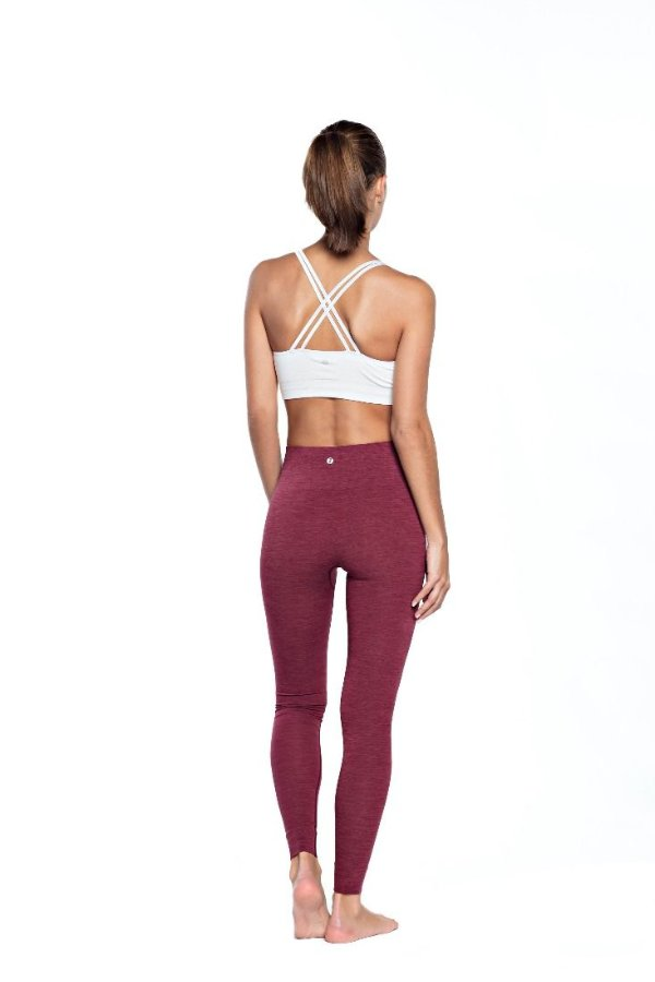 SEA YOGI // Run and Relax, Bandha Bamboo leggings in port wine red, back