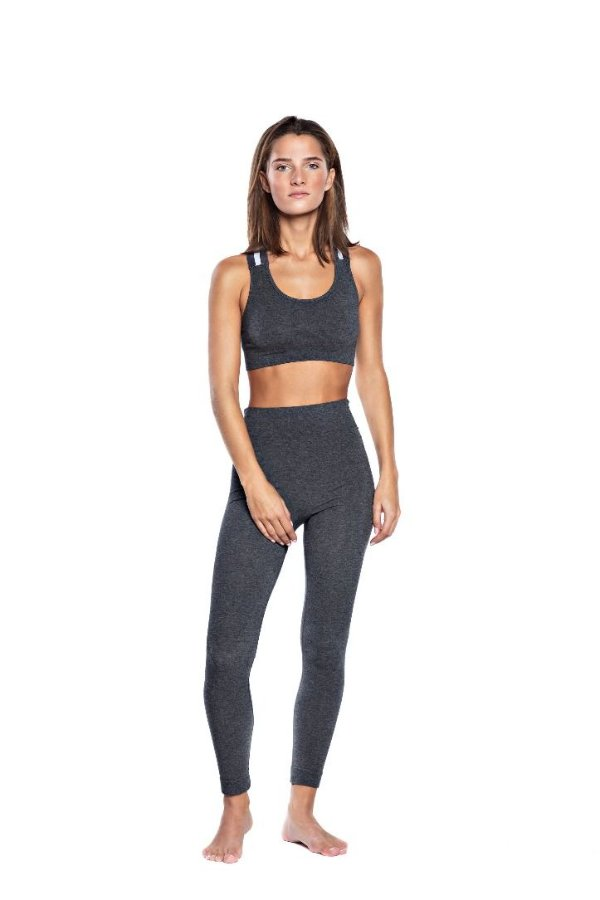 SEA YOGI // Run and Relax, wide elastic bra in drak gray melange de bambu, delante