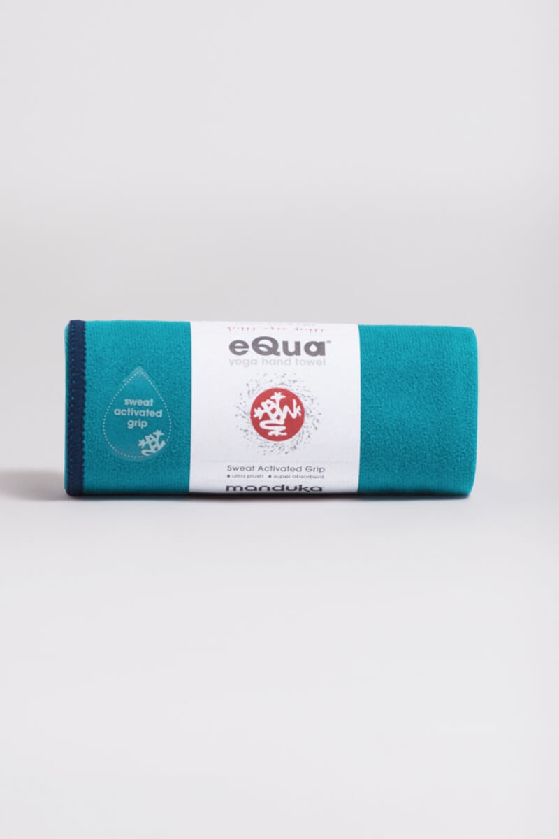 SEA YOGI // eQua Hand Towel in Harbour by Manduka, Sea Yogi web store, rolled