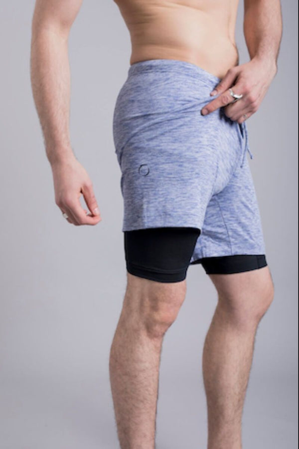 SEA YOGI // 2-Dogs Lined yoga shorts for men in blue by Ohmme, right side