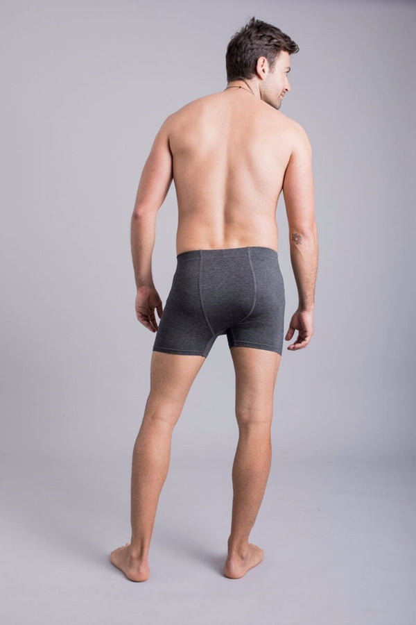 SEA YOGI // Zhu Bamboo boxer shorts in dark grey by Ohmme, Tienda de Yoga, back