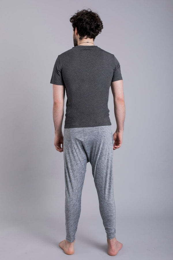 SEA YOGI // Cobra Bamboo Yoga tshirt for Men in Solid Grey by Ohmme, Online Yoga Shop, back
