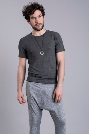 SEA YOGI // Cobra Bamboo Yoga tshirt for Men in Solid Grey by Ohmme, Online Yoga Shop, front