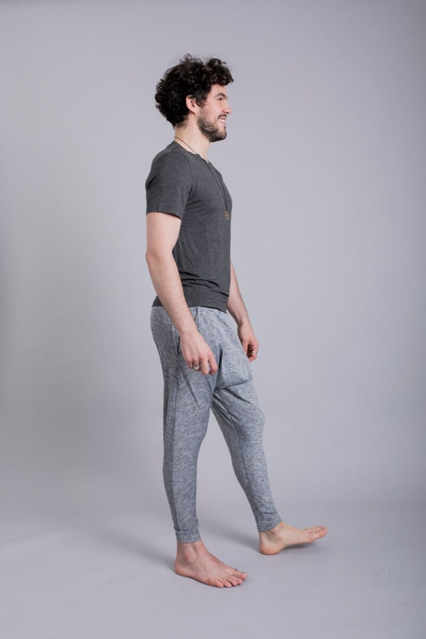 SEA YOGI // Cobra Bamboo Yoga tshirt for Men in Solid Grey by Ohmme, Online Yoga Shop, side