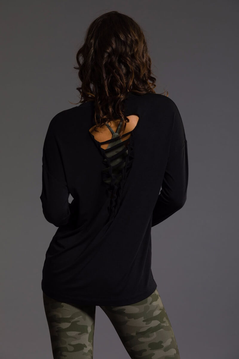 SEA YOGI Braided Back long sleeve top in Black, Online Yoga Shop, back